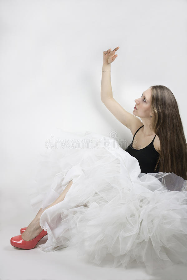 Vrouw die hoepelrok en schoenen dragen royalty-vrije stock foto