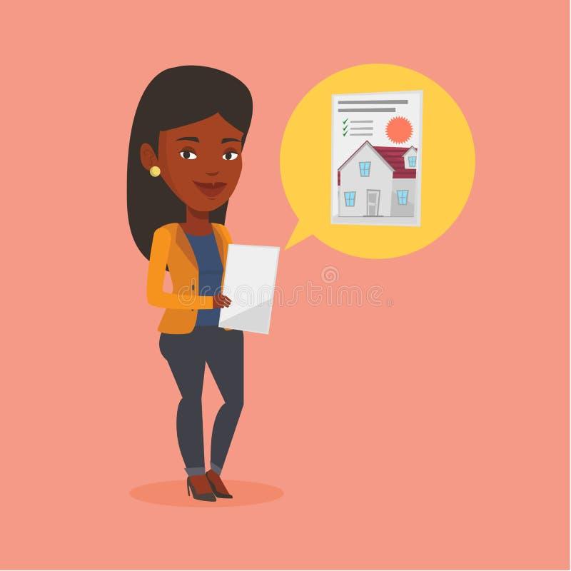 Vrouw die huis vectorillustratie zoeken stock illustratie