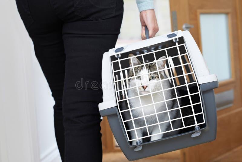 Vrouw die Huisdier Cat To Vet In Carrier nemen royalty-vrije stock foto