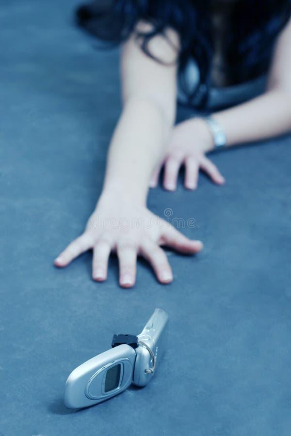 Vrouw die hulp verzoekt stock foto's