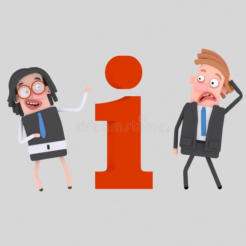 Vrouw die informatie aan de mens over een Informatiegebied geven 3d stock illustratie