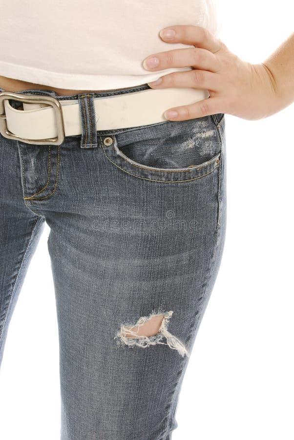 Vrouw die jeans draagt royalty-vrije stock fotografie
