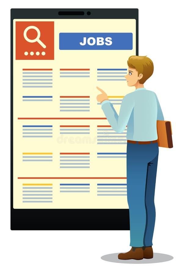 Vrouw die in Job Posting bekijken royalty-vrije illustratie