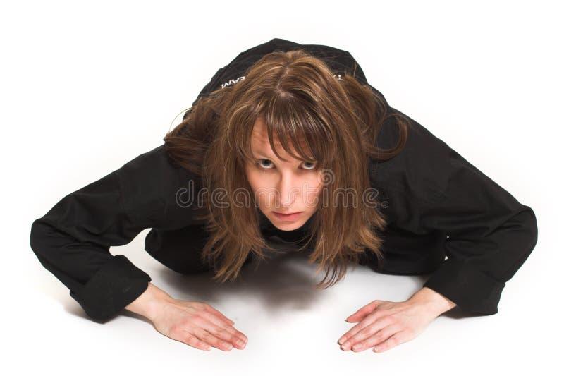 Vrouw die karate doet royalty-vrije stock fotografie
