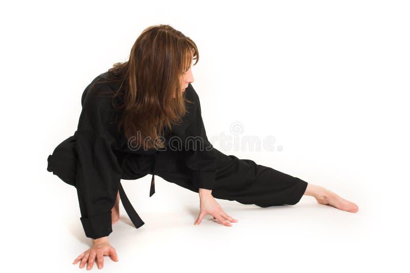 Vrouw die karate doet royalty-vrije stock afbeeldingen