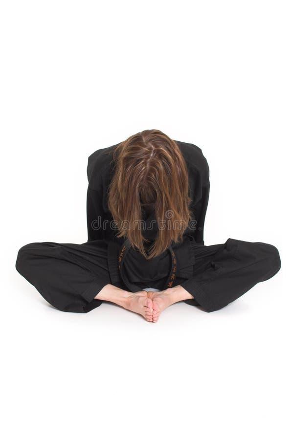 Vrouw die karate doet stock afbeelding