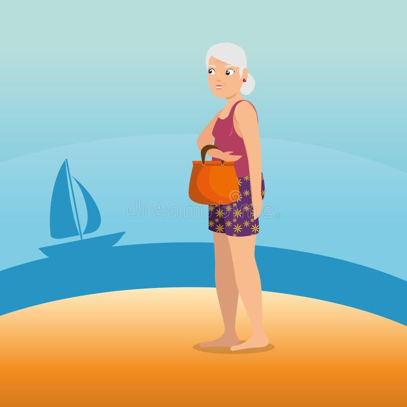 Vrouw die langs het strandontwerp lopen royalty-vrije illustratie