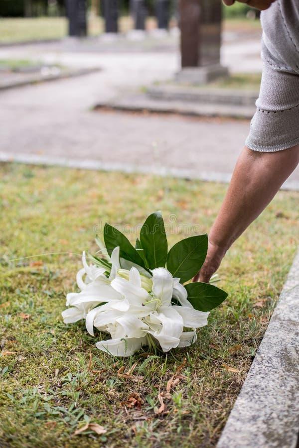 Vrouw die lelies op graf verlaten stock afbeelding