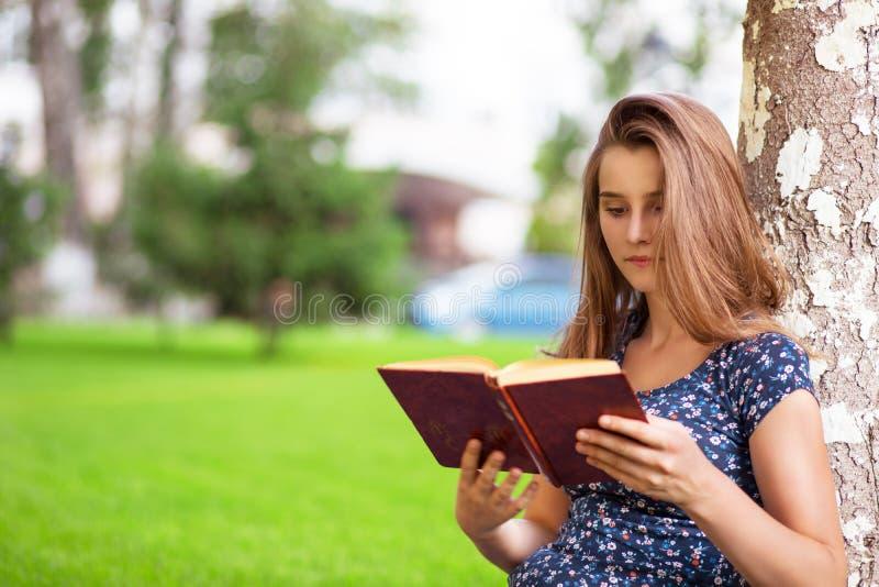 Vrouw die lezend een boek terwijl het zitten in campus bestuderen royalty-vrije stock afbeelding