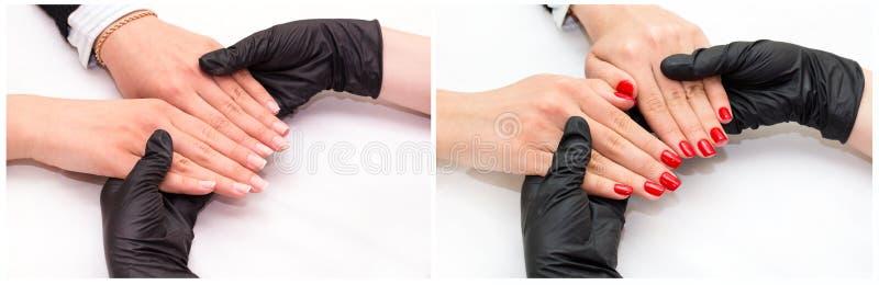 vrouw die manicure doet stock foto