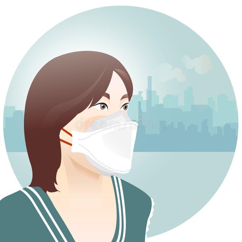 Vrouw die masker dragen om luchtvervuiling te beschermen stock fotografie