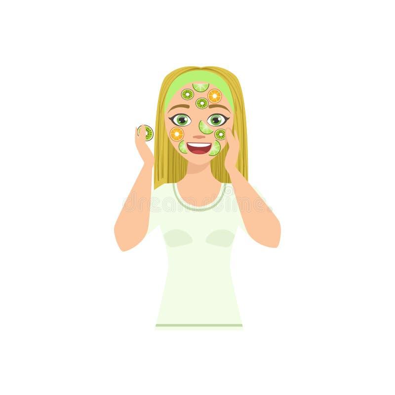 Vrouw die Masker met Citrus Slices Home Spa Behandelingsprocedure doen royalty-vrije illustratie