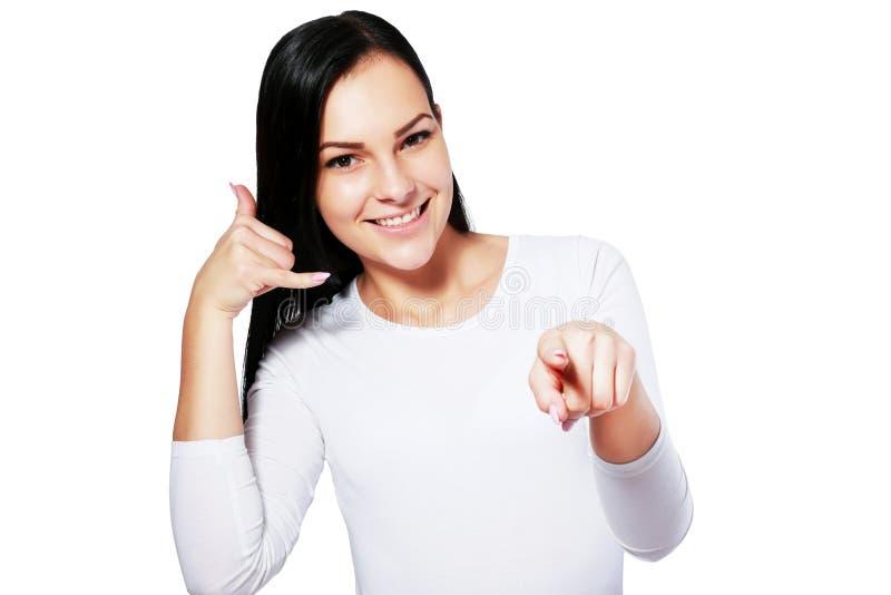 Vrouw die me gebaar maakt roepen royalty-vrije stock fotografie