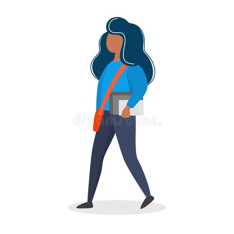Vrouw die met de boeken en de zak lopen royalty-vrije illustratie
