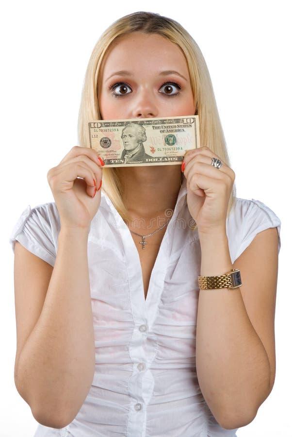 Vrouw die met dollarrekening tot zwijgen wordt gebracht op haar mond stock afbeelding