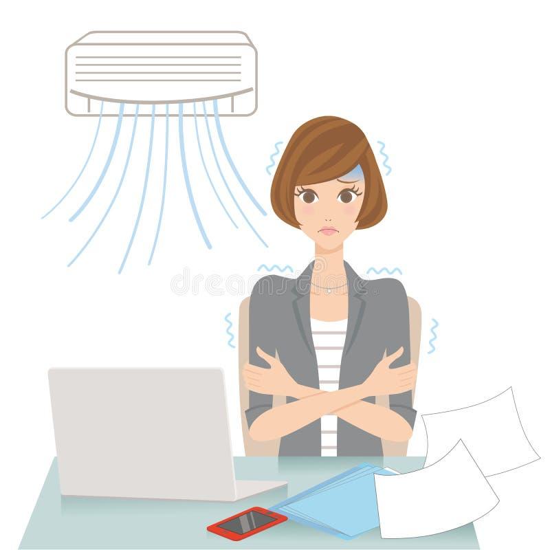 Vrouw die met een airconditioningstoestel koud wordt stock illustratie