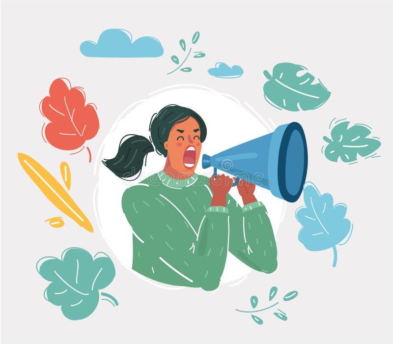 Vrouw die met een megafoon schreeuwen vector illustratie