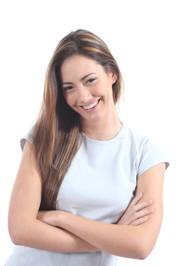 Vrouw die met een verleidelijke blik glimlachen stock foto