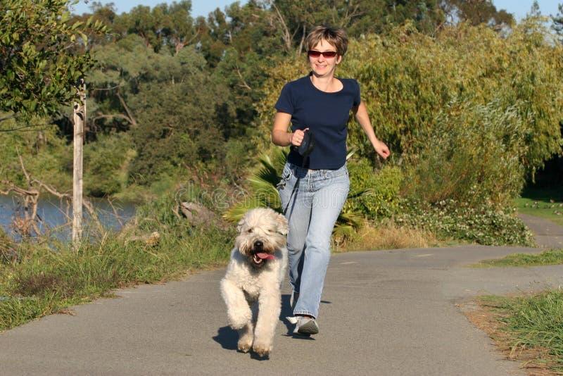 Vrouw die met haar hond loopt stock foto