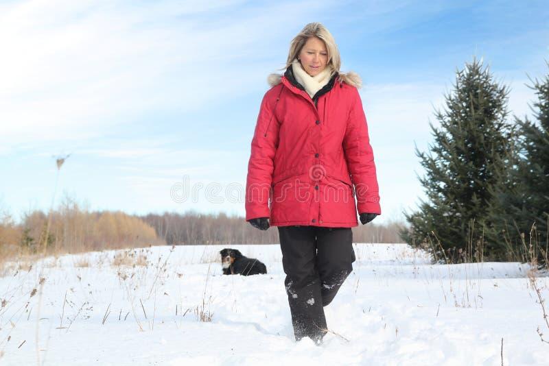 Vrouw Die Met Hond Loopt Stock Foto's
