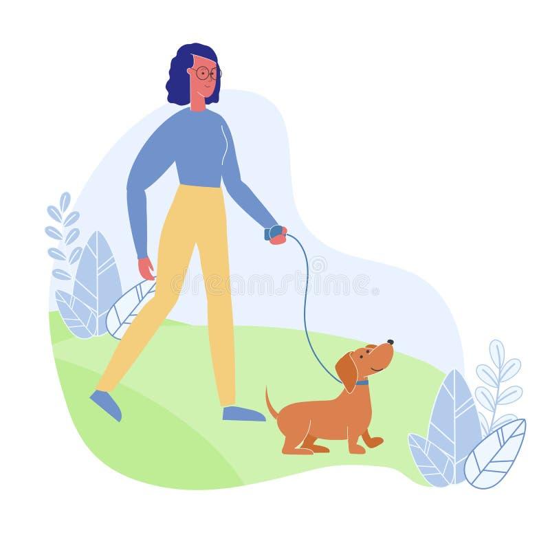 Vrouw die met Hond Vlakke Vectorillustratie lopen stock illustratie