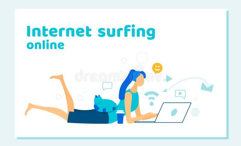 Vrouw die met Laptop Internet surfen, die Informatie zoeken vector illustratie