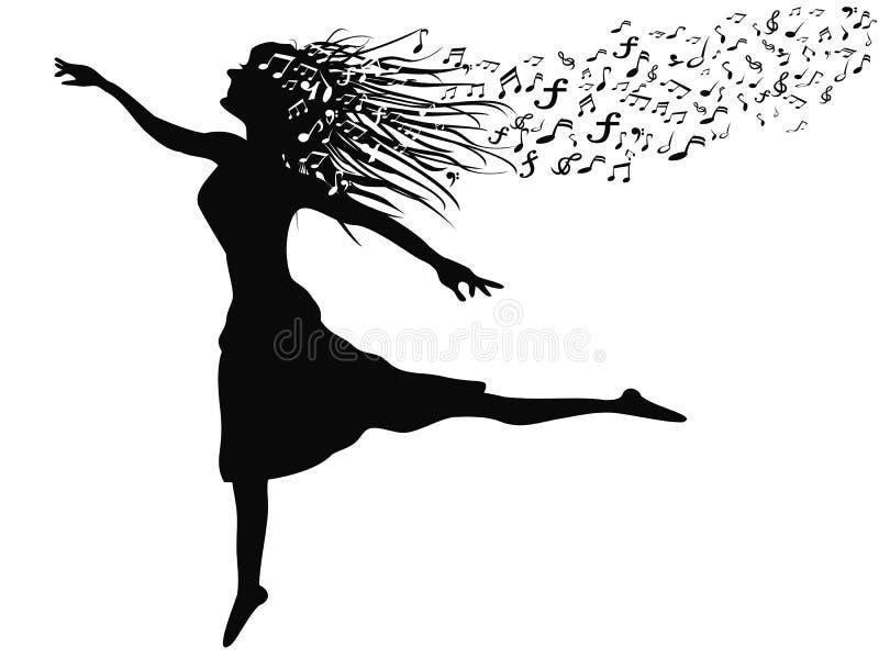 Vrouw die met muzieknota dansen vector illustratie