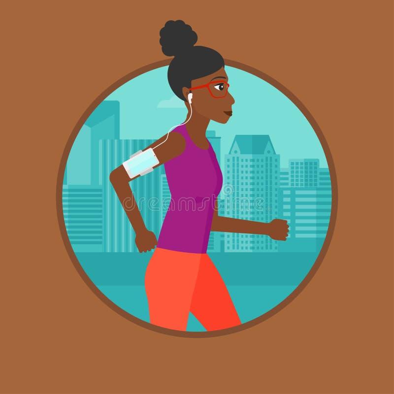 Vrouw die met oortelefoons en smartphone lopen vector illustratie