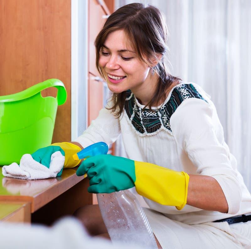 Vrouw die met reinigingsmiddel bestrooien royalty-vrije stock foto