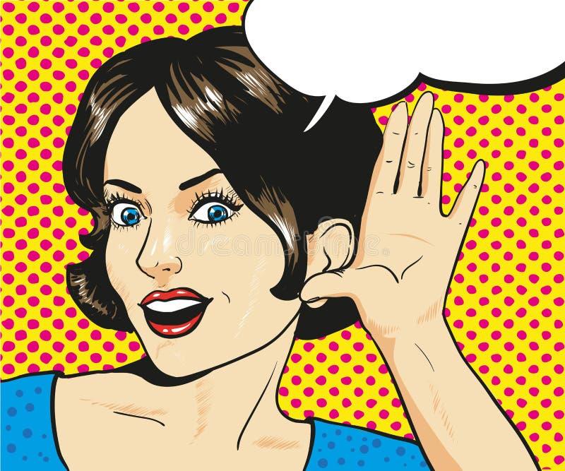 Vrouw die met verrast gezicht aan een gefluister luisteren royalty-vrije illustratie