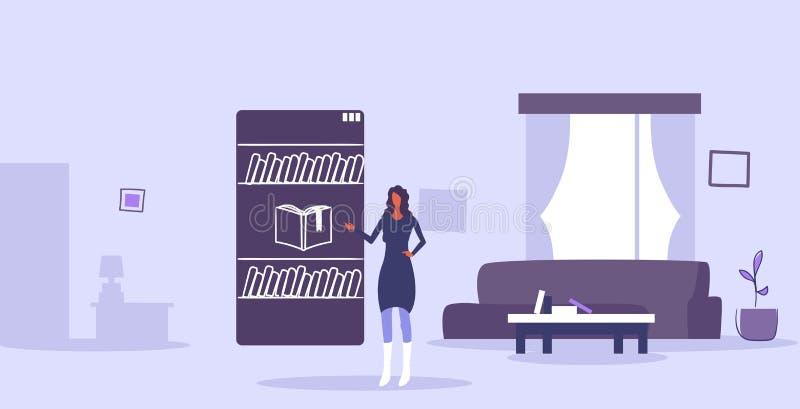 Vrouw die mobiele toepassing online librbary e-boken in meisje gebruiken die van het smartphone het e-lerend concept boek moderne vector illustratie