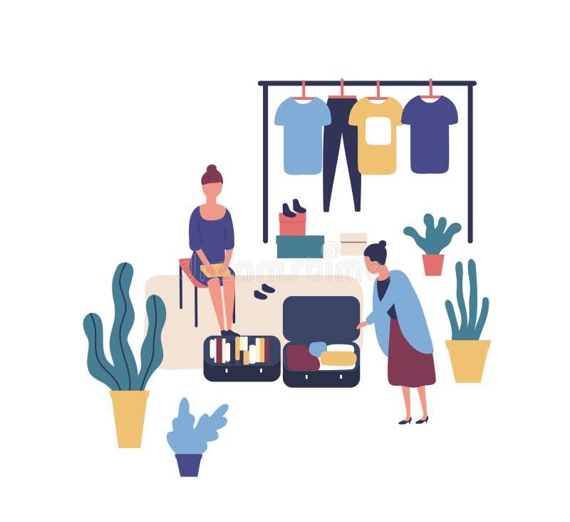Vrouw die modieuze uitstekende kleren verkopen bij garage sale Leuke grappige vrouwelijke verkoper en klant bij de zomer openluch stock illustratie
