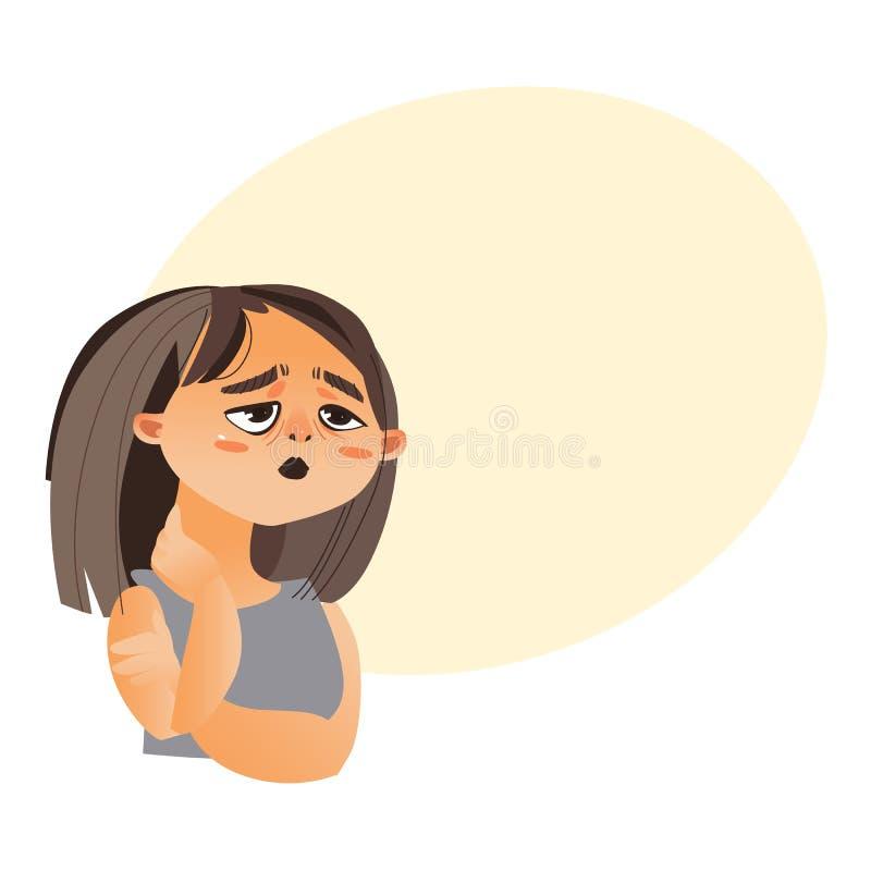 Vrouw die moeheid, beeldverhaal vectorillustratie voelen stock illustratie