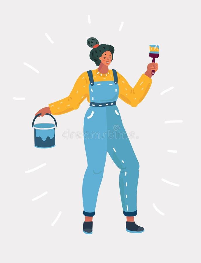 Vrouw die muurschilderij doen royalty-vrije illustratie