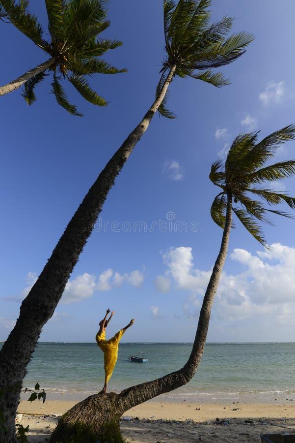 Vrouw die naast de kust dansen stock afbeelding