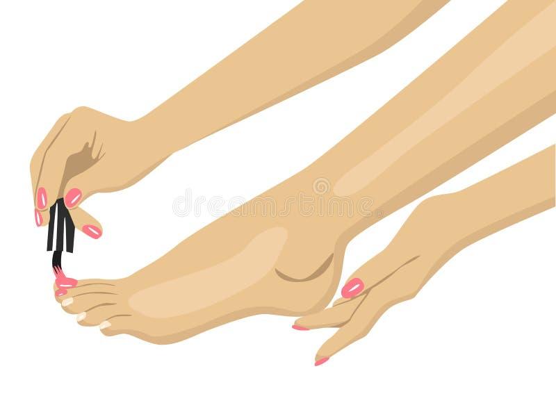 Vrouw die nagellak op haar tenen toepassen stock illustratie