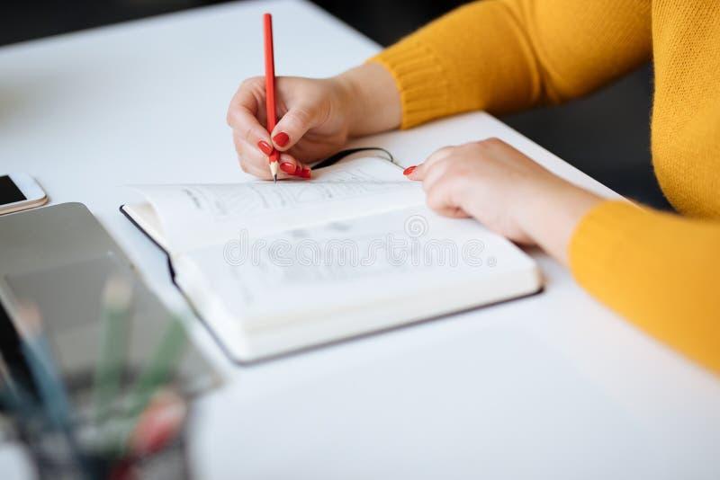 Vrouw die nieuw ontwerp voor een website schetsen stock foto's