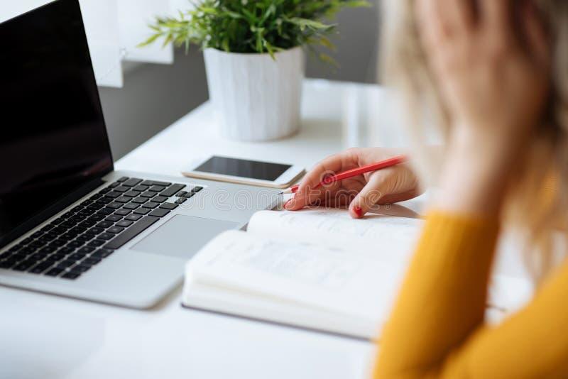 Vrouw die nieuw Webontwerp schetsen stock afbeelding