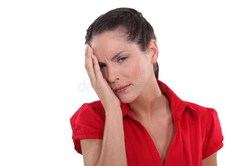 Vrouw die oculaire pijn hebben stock fotografie