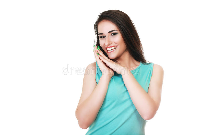 Vrouw die omhoog kijkt royalty-vrije stock afbeeldingen