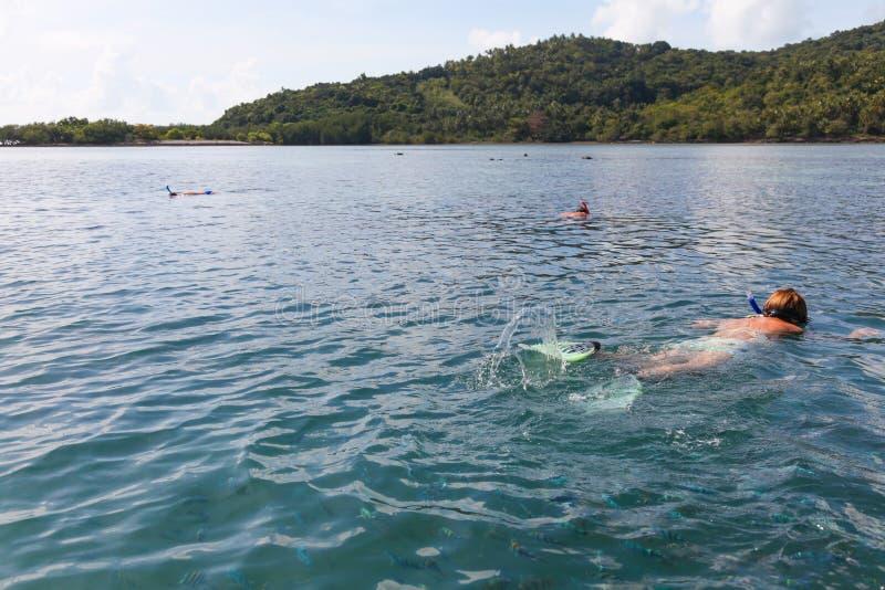 Vrouw die onder kleurrijke vissen in Thailand zwemmen royalty-vrije stock foto