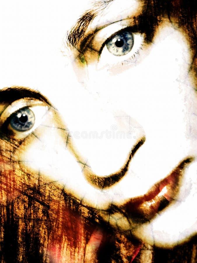 Vrouw die onderaan Portret 2 kijkt stock foto