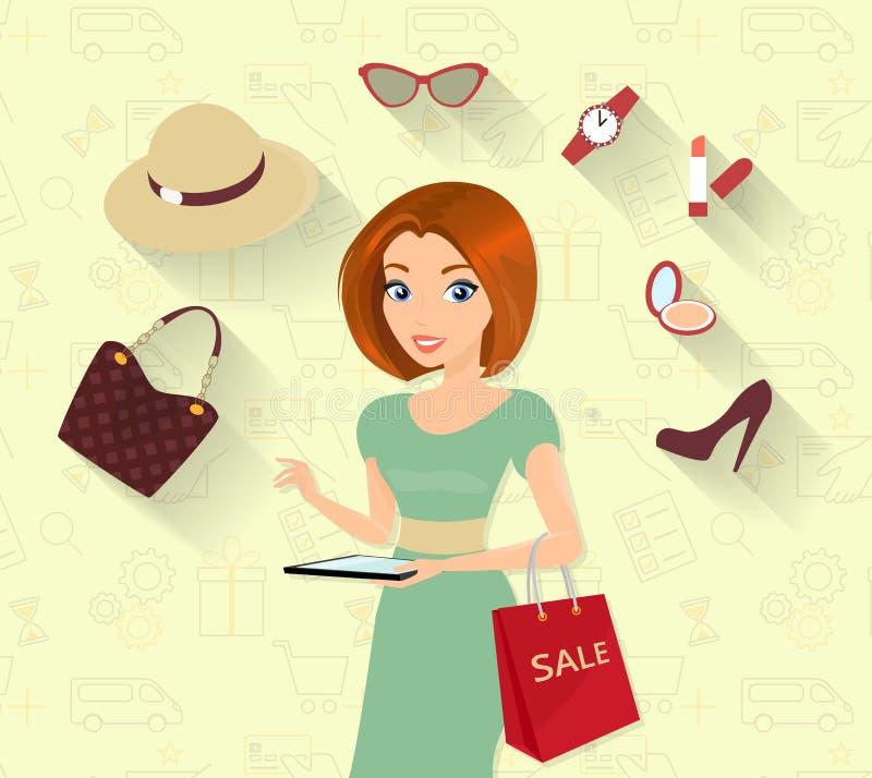 Vrouw die online het winkelen doen stock illustratie