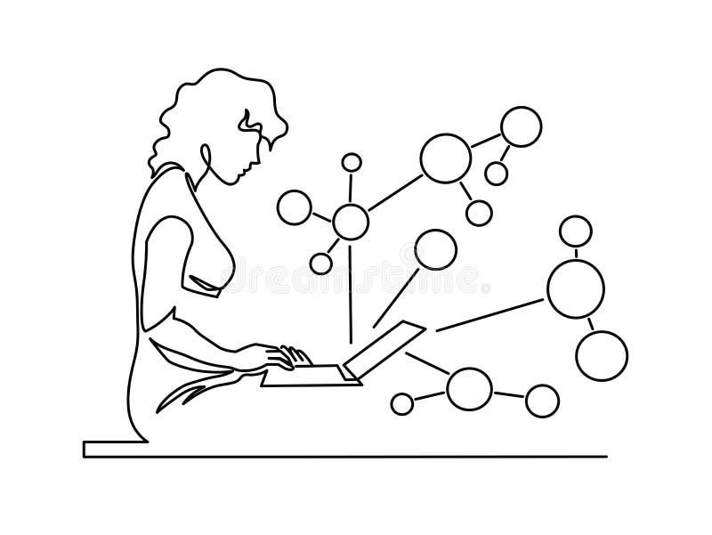 Vrouw die ononderbroken babbelen lijn vectortekening royalty-vrije illustratie