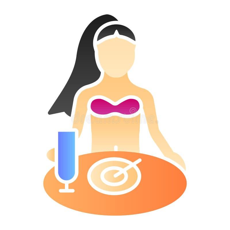 Vrouw die ontbijt vlak pictogram hebben Meisje die kleurenpictogrammen in in vlakke stijl eten Wijfje bij de stijl van de lijstgr vector illustratie