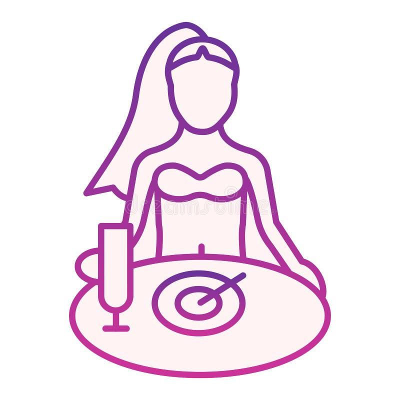 Vrouw die ontbijt vlak pictogram hebben Meisje die purpere pictogrammen in in vlakke stijl eten Wijfje bij de stijl van de lijstg stock illustratie