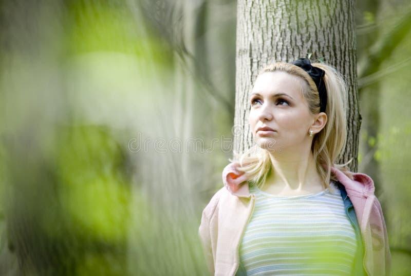 Vrouw die op boom leunt stock fotografie