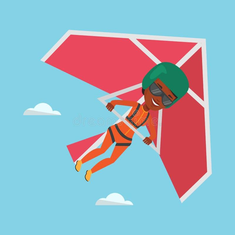 Vrouw die op deltavlieger vectorillustratie vliegen vector illustratie