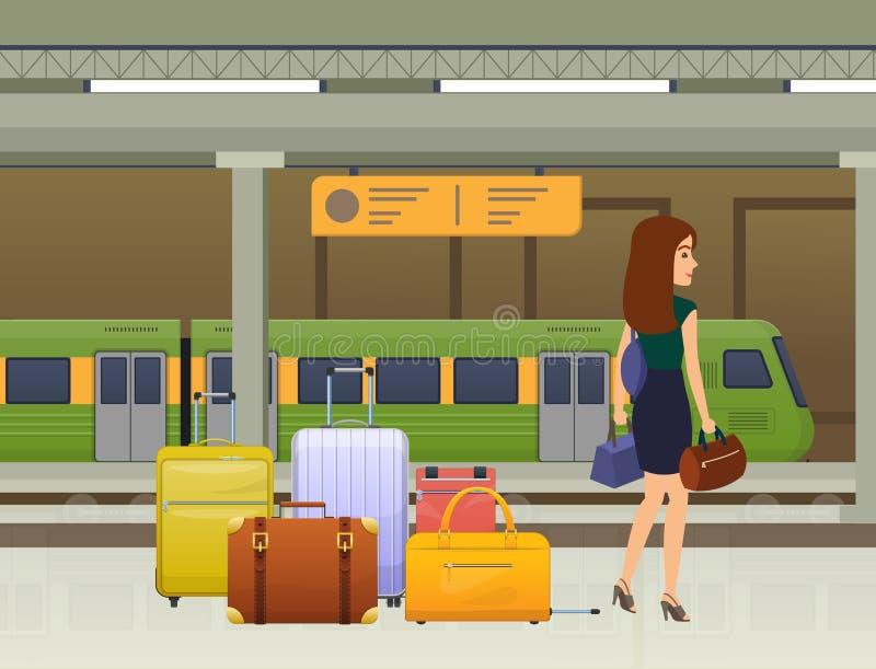 Vrouw die op openbaar vervoer wachten Trein, metrotram, station royalty-vrije illustratie