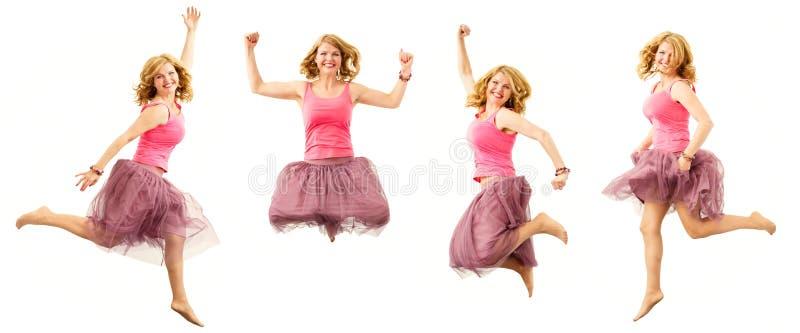 Vrouw die op vier verschillende manieren springen stock afbeeldingen